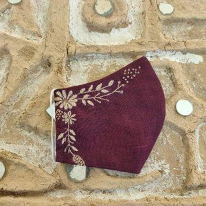 Accessories - Maroon hand embroidered motif three layer mask
